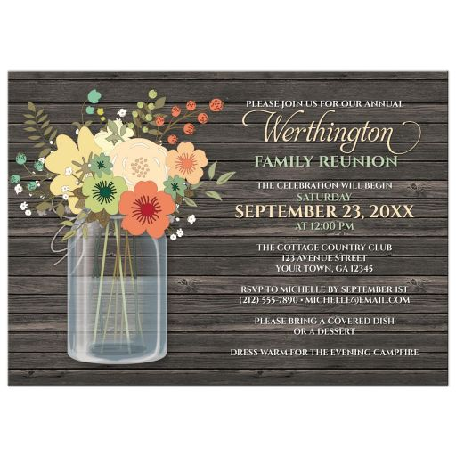 Family Reunion Invitations - Rustic Floral Wood Mason Jar