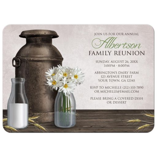 Family Reunion Invitations - Rustic Dairy Farm