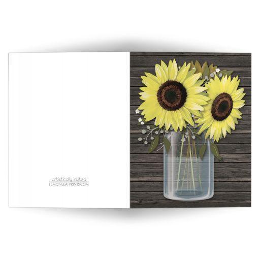 Note Cards - Rustic Sunflower Wood Mason Jar