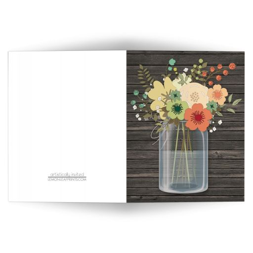 Note Cards - Rustic Floral Wood Mason Jar