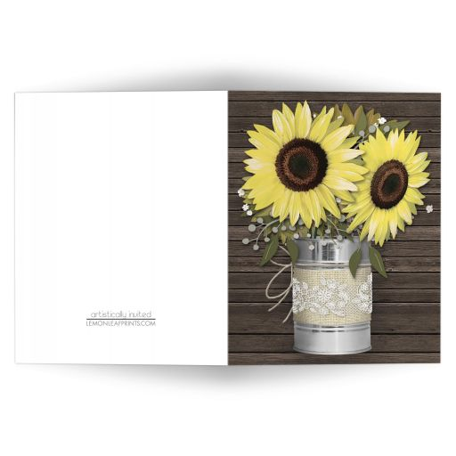 Note Cards - Rustic Burlap and Lace Tin Can Sunflower