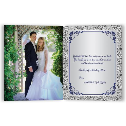 Affordable navy blue and silver grey floral wedding photo thank you card with joined hearts and ribbon