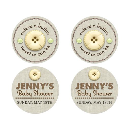 Baby Shower Stickers - Cute as a Button Stitched Linen