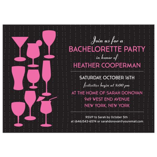 Bachelorette Hens Party Invitation - Raining Pink Cocktails