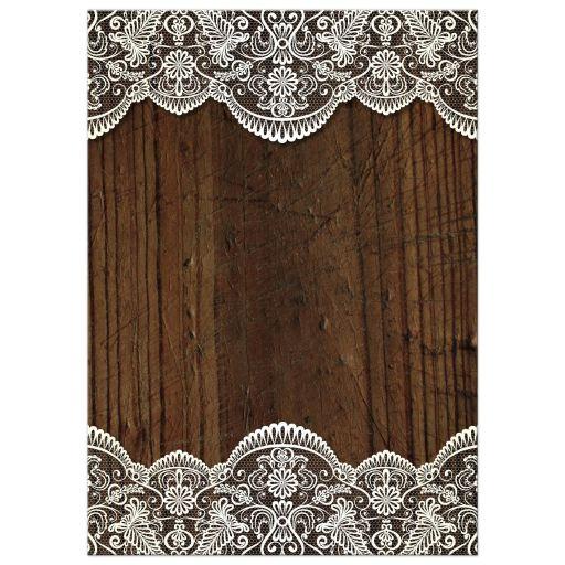 Bridal Wedding Shower Invitation Rustic Lace Wood