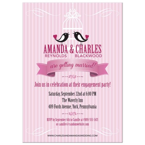 Engagement Wedding Party invitation - Two Birds and Birdcage Pink