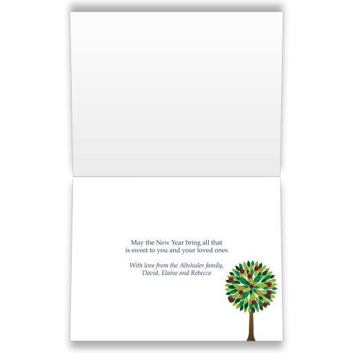 Rosh Hashanah Folded Greeting Card - Apple Tree Dark Blue