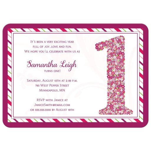 Purple floral first birthday party invitation