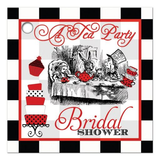 Alice in Wonderland with Mad hatter bridal shower tea party favor tag