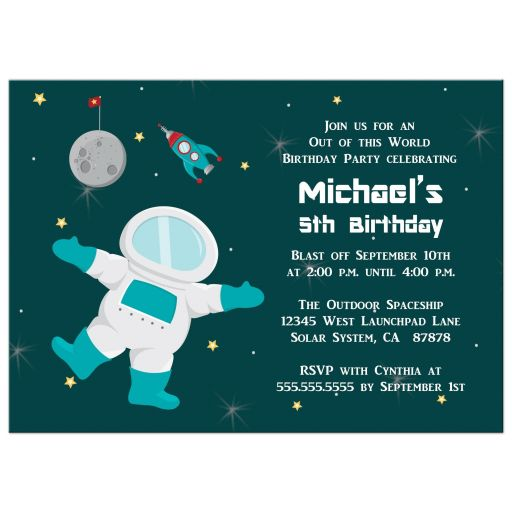 Birthday Party Invitation - Boy's outer space astronaut