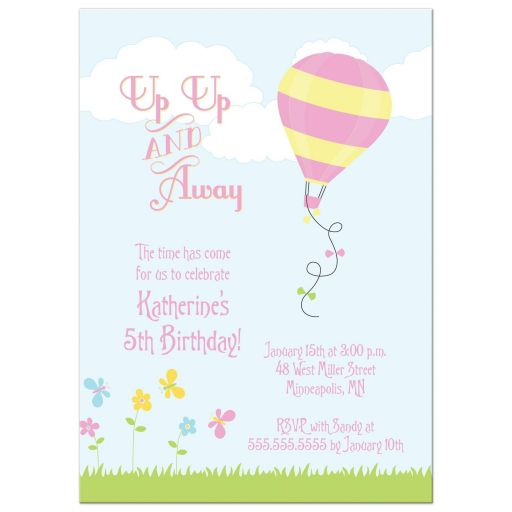 Hot air balloon girl's birthday party invitation