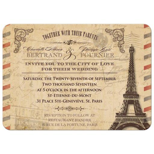 Wedding Invitation - Vintage Parisian Airmail Parchment Antique Look