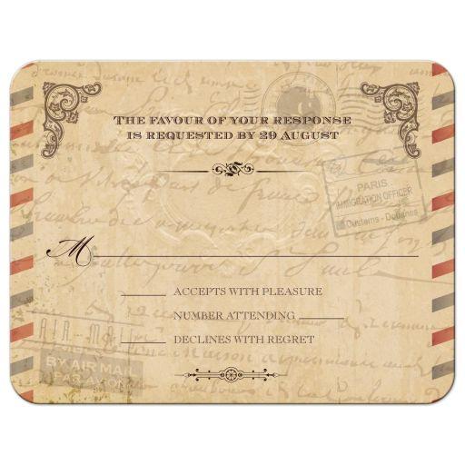 RSVP Reply Card - Vintage Parisian Airmail Parchment Antique Look