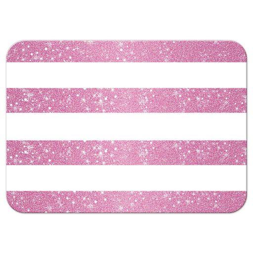 Wedding Reply Card - Retro Pink Glitter Stripes RSVP