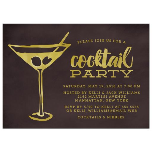 Retro Martini Cocktail Party Invitations front