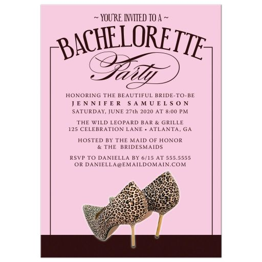 Leopard Print Shoes Bachelorette Party Invitations front