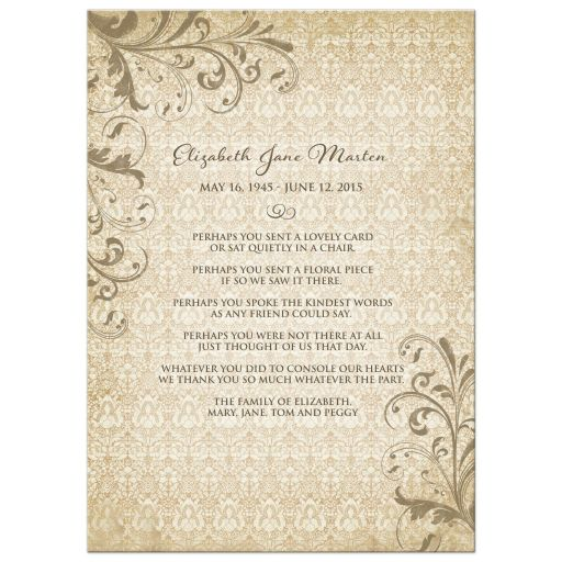 ​Personalized vintage lace floral photo in memoriam card (in memory of card) back