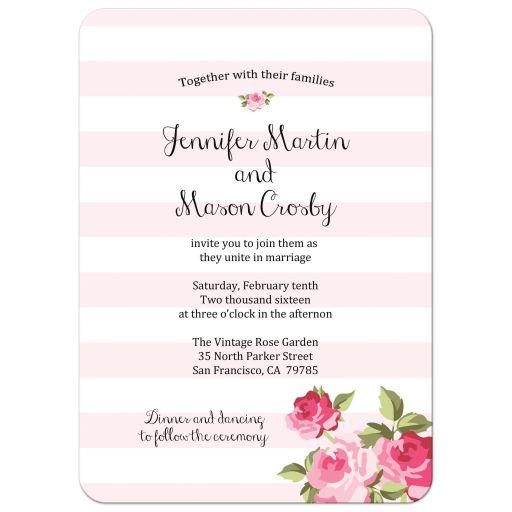Pink stripes and pink roses chic wedding invitation