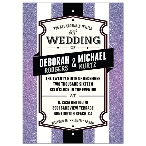 Wedding Invitation - Retro Purple Glitter Stripes