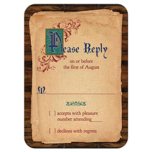 Unique illuminated text medieval fairytale once upon a time wedding RSVP reply card