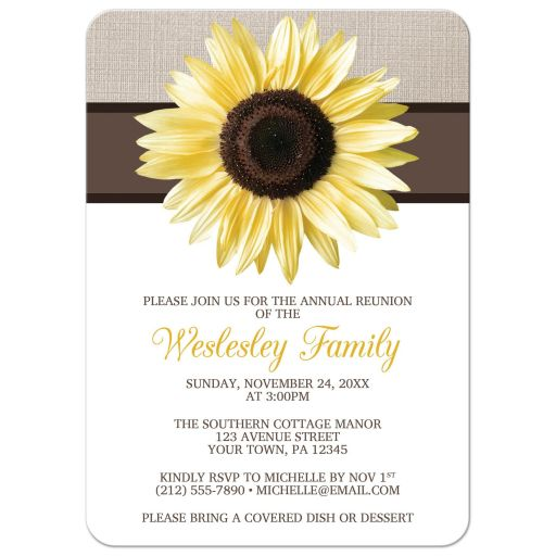 Family Reunion Invitations - Rustic Sunflower and Mocha Linen