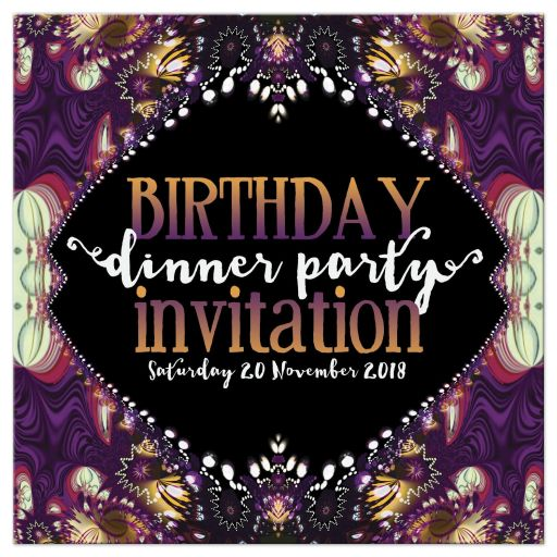 Purple Bohemian Lace Fractals Birthday Dinner Party Invitation