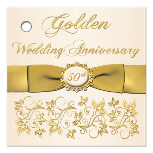 Best Golden Wedding Anniversary favor tag with ribbon and flowers