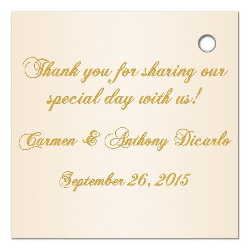 Great elegant ivory and gold floral 50th wedding anniversary favor tag with gold ribbon andbow.