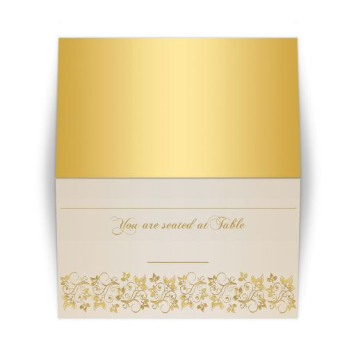 Best ivory and gold floral place card