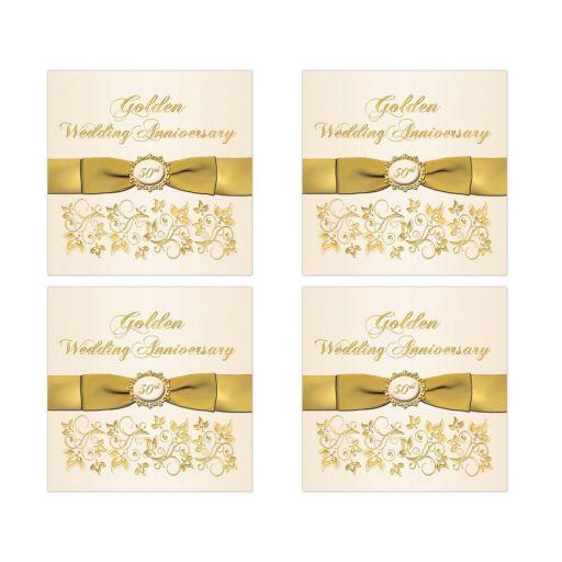 best ivory and gold floral golden anniversary favor sticker or envelope seal