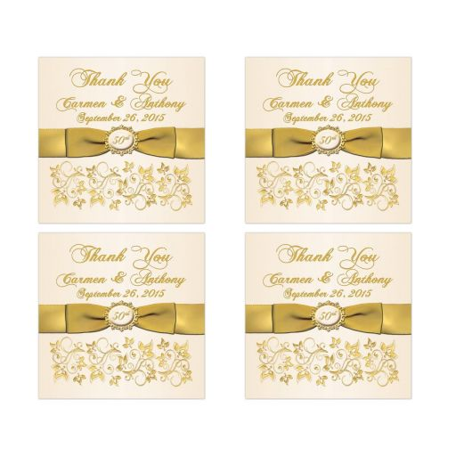 best 50th wedding anniversary favor sticker in ivory and gold floral with ribbon
