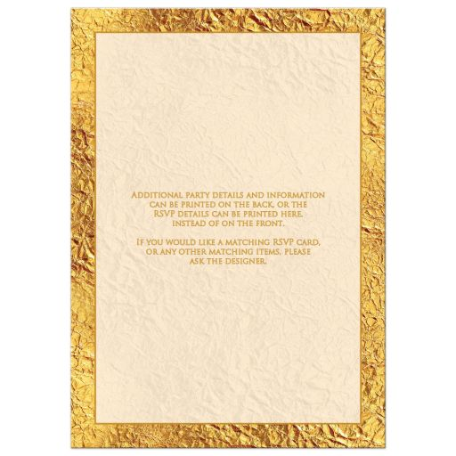 Ivory and gold 50th wedding anniversary invite with scrolls and photo