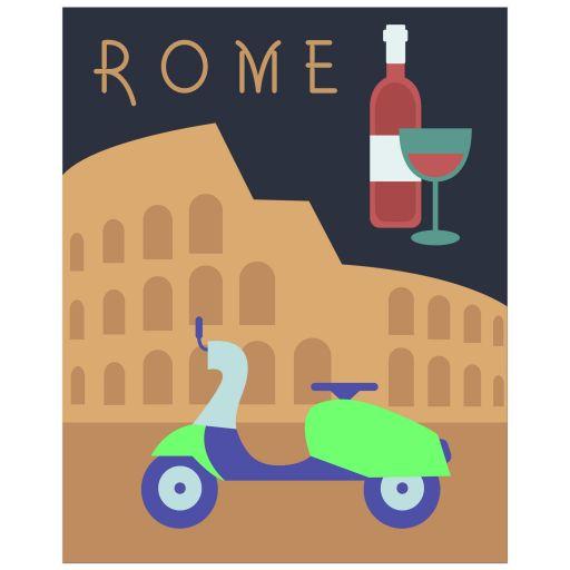 Retro Inspired 8x10 Wall Art Illustration of Rome Italy