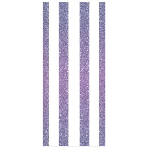 Wedding Menu Card - Retro Purple Glitter Stripes