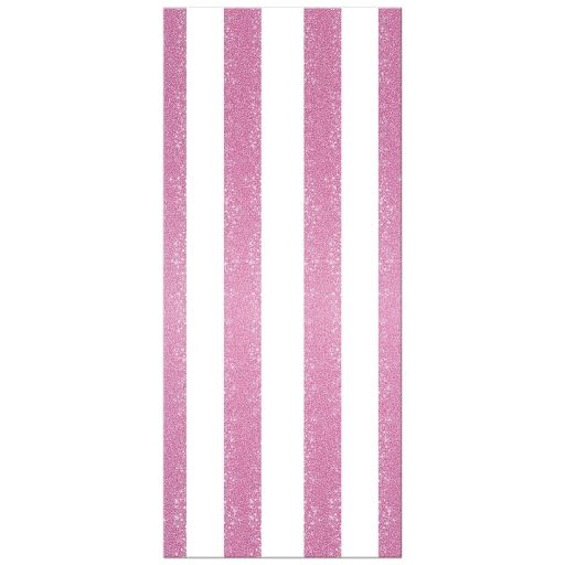 Wedding Menu Card - Retro Pink Glitter Stripes