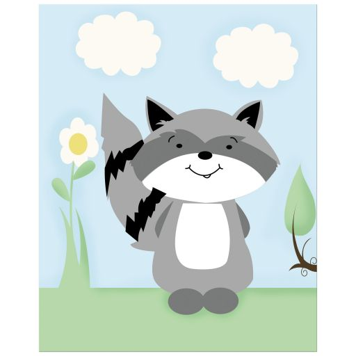 Raccoon Enchanted Forest Art Print 8x10