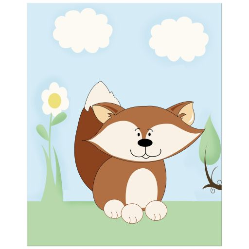 Red Fox Enchanted Forest Children's Art 8x10