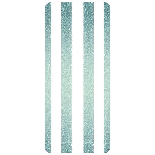 Wedding Menu Card - Retro Turquoise Glitter Stripes