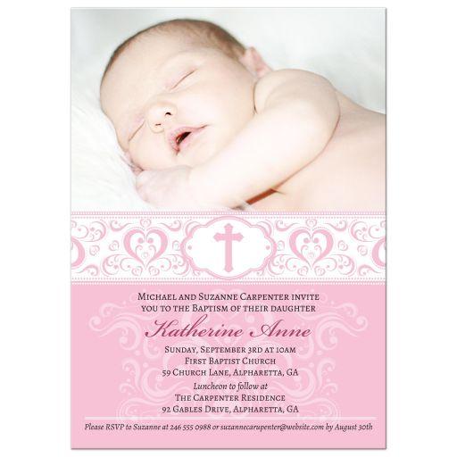 Baptism Christening Invitation - Pink Scroll Damask Cross