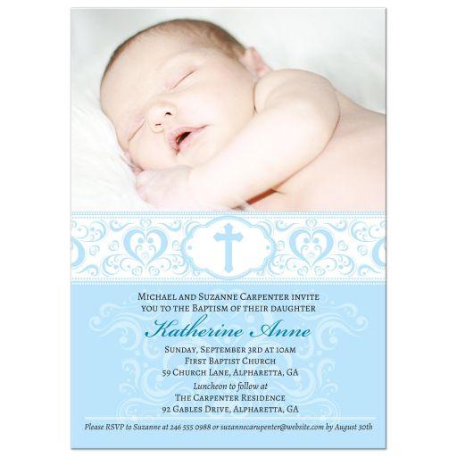 Baptism Christening Invitation - Blue Scroll Photo Damask Cross