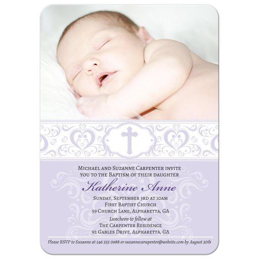 Baptism Christening Invitation - Purple Scroll Photo Damask Cross