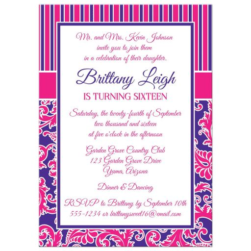 Fuchsia and purple sweet sixteen birthday party invitation