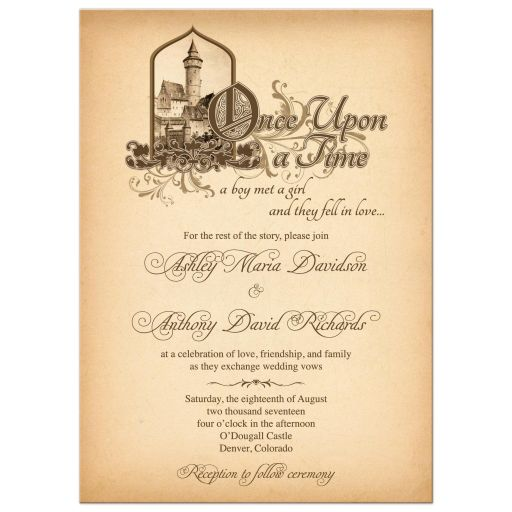 Unique medieval castle fairytale once upon a time wedding invitation front