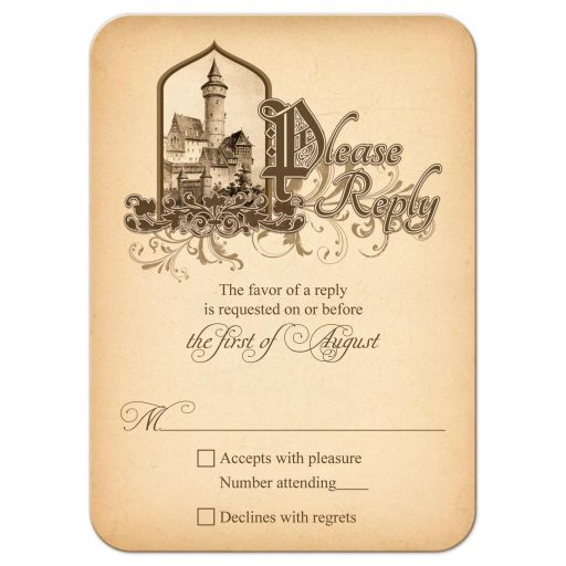 Unique medieval castle fairytale once upon a time wedding RSVP reply card front