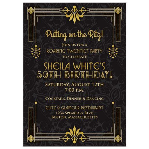 Black and gold roaring 20s (roaring twenties) art deco style 50th birthday invitation front