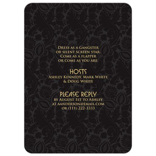 Black and gold roaring 20s (roaring twenties) art deco style 50th birthday invitation back