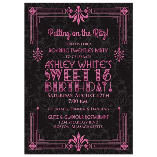 Roaring 20s Art Deco Black Pink Sweet 16 Party Invitation