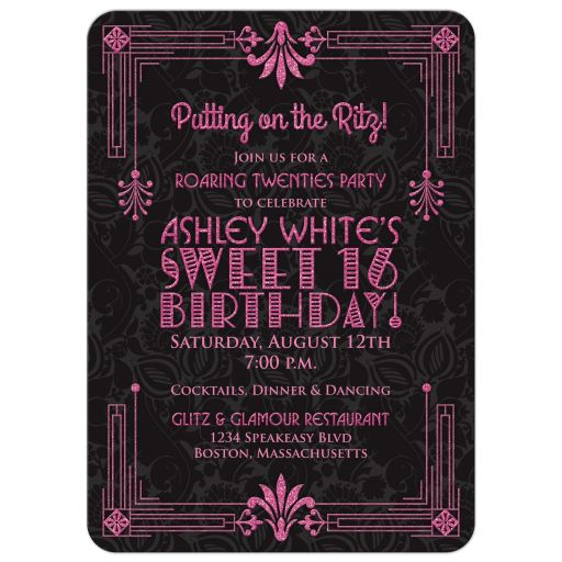 Black and hot pink roaring 20s (roaring twenties) art deco style sweet 16 birthday invitation front