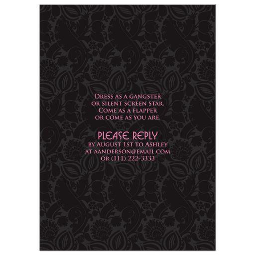 Black and hot pink roaring 20s (roaring twenties) art deco style sweet 16 birthday invitation back