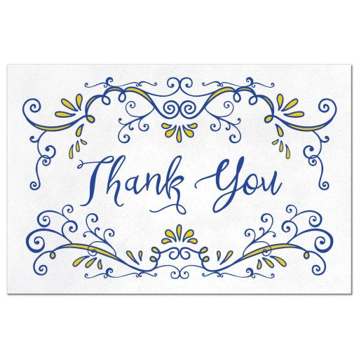 Royal blue and yellow whimsical vintage flourish thank you postcard front